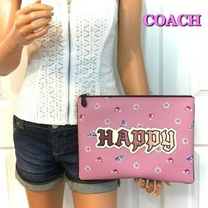 Coach Disney Happy Gem Large Wristlet Pink Bag NWT